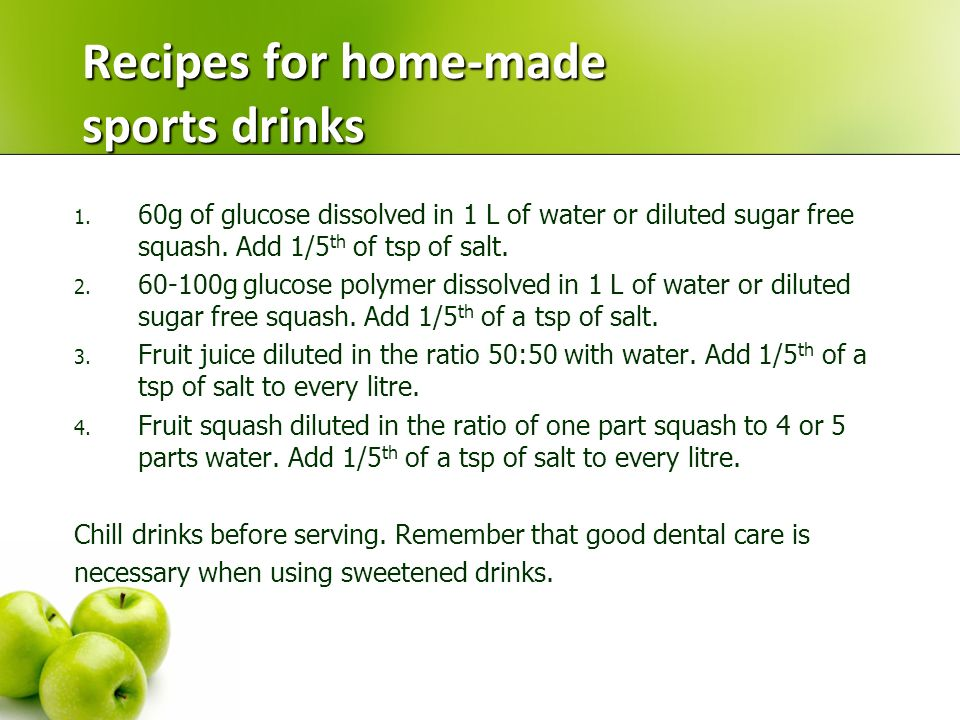 Recipes for home-made sports drinks