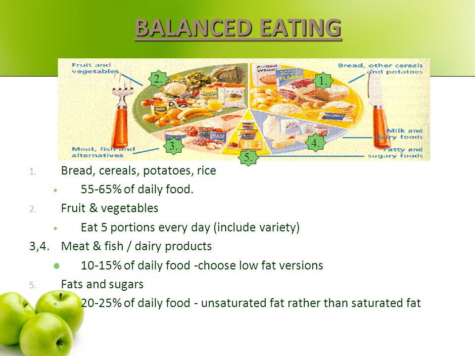 BALANCED EATING Bread, cereals, potatoes, rice 55-65% of daily food.