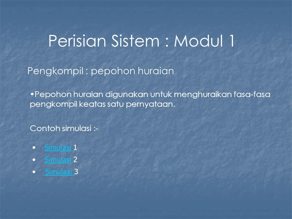 Perisian Sistem : Modul 1