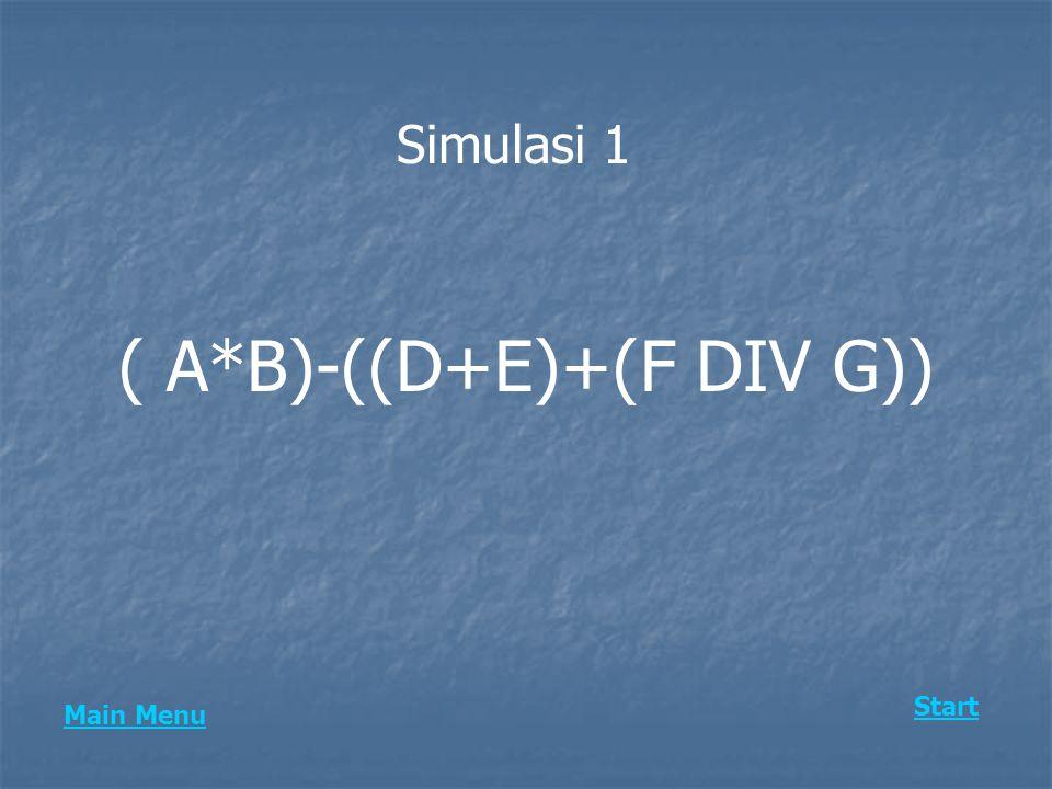 ( A*B)-((D+E)+(F DIV G))
