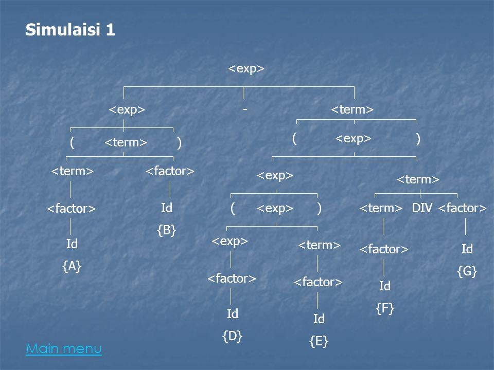 Simulaisi 1 Main menu <exp> <exp> - <term> (