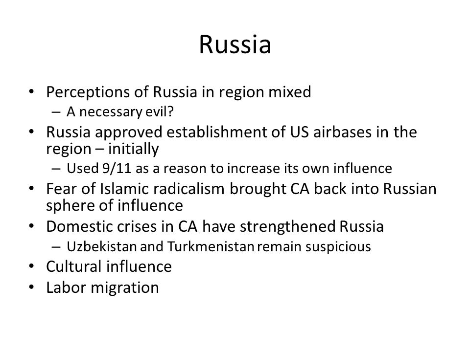 Russia Perceptions of Russia in region mixed