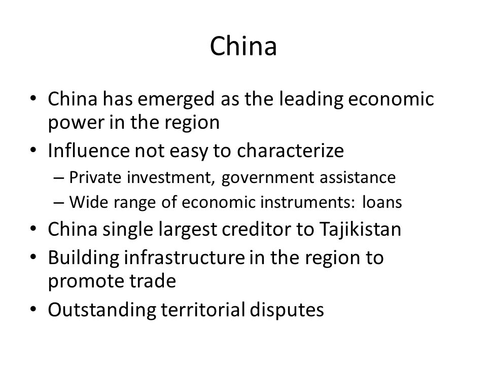 China China has emerged as the leading economic power in the region