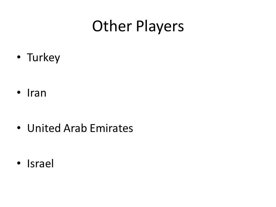 Other Players Turkey Iran United Arab Emirates Israel