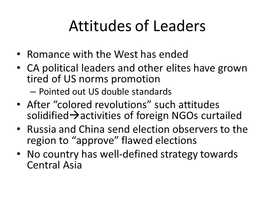 Attitudes of Leaders Romance with the West has ended