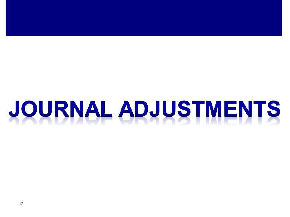 Journal adjustments