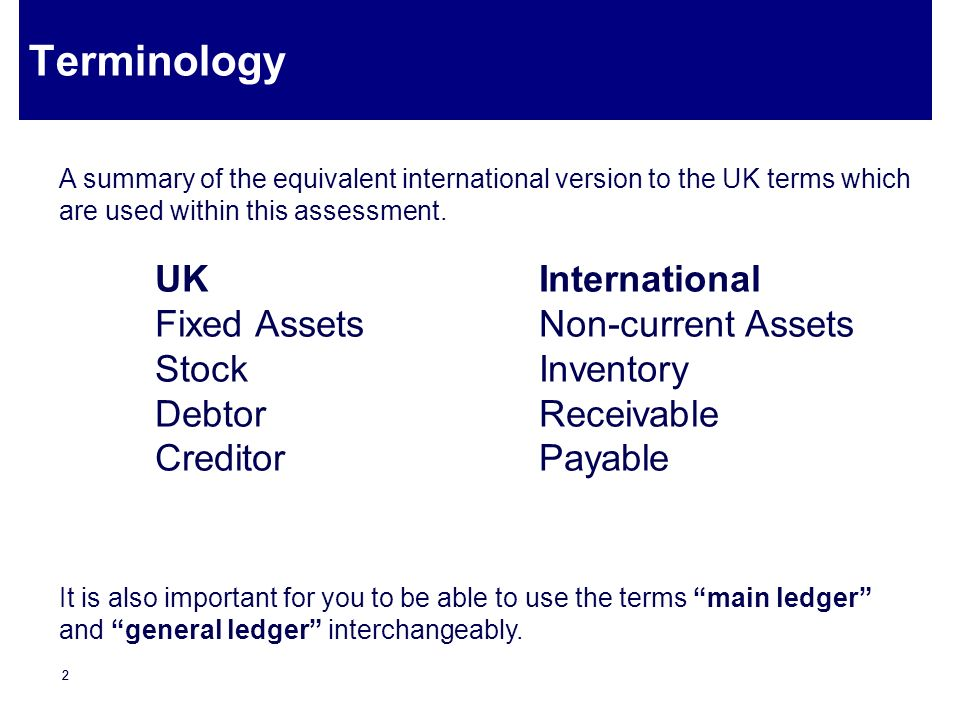 Terminology UK International Fixed Assets Non-current Assets