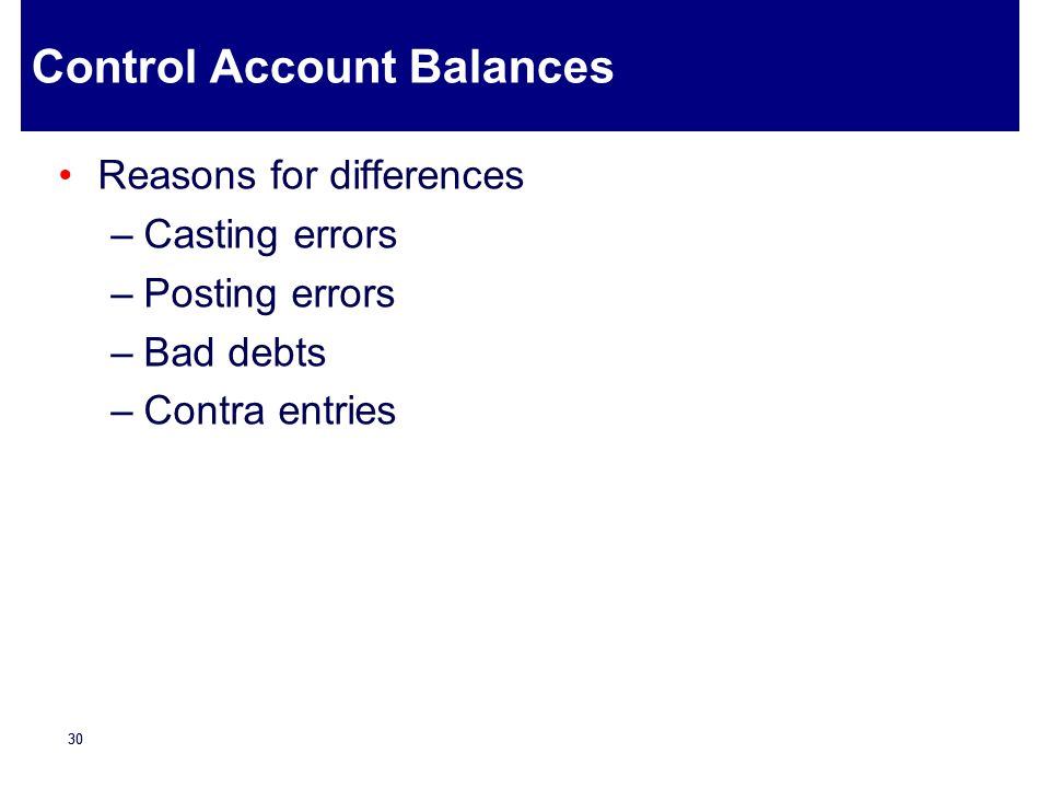 Control Account Balances
