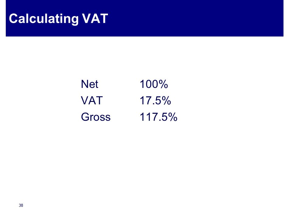Calculating VAT Net 100% VAT 17.5% Gross 117.5%