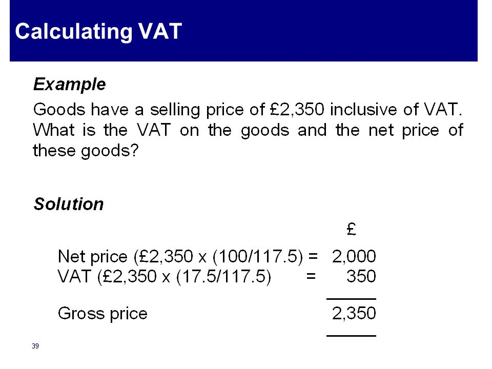 Calculating VAT