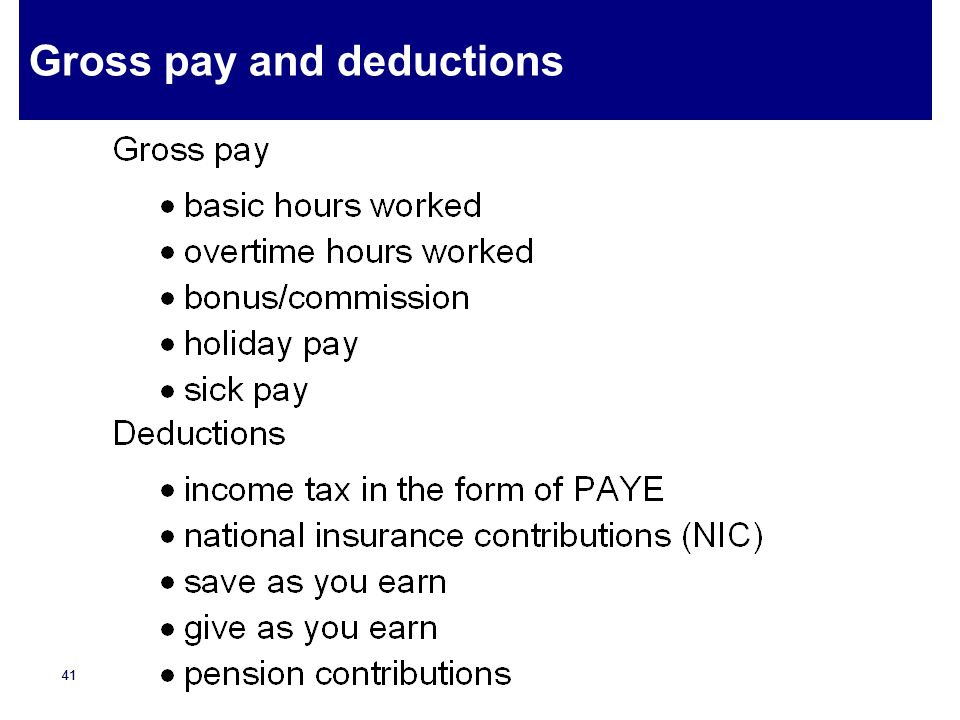 Gross pay and deductions