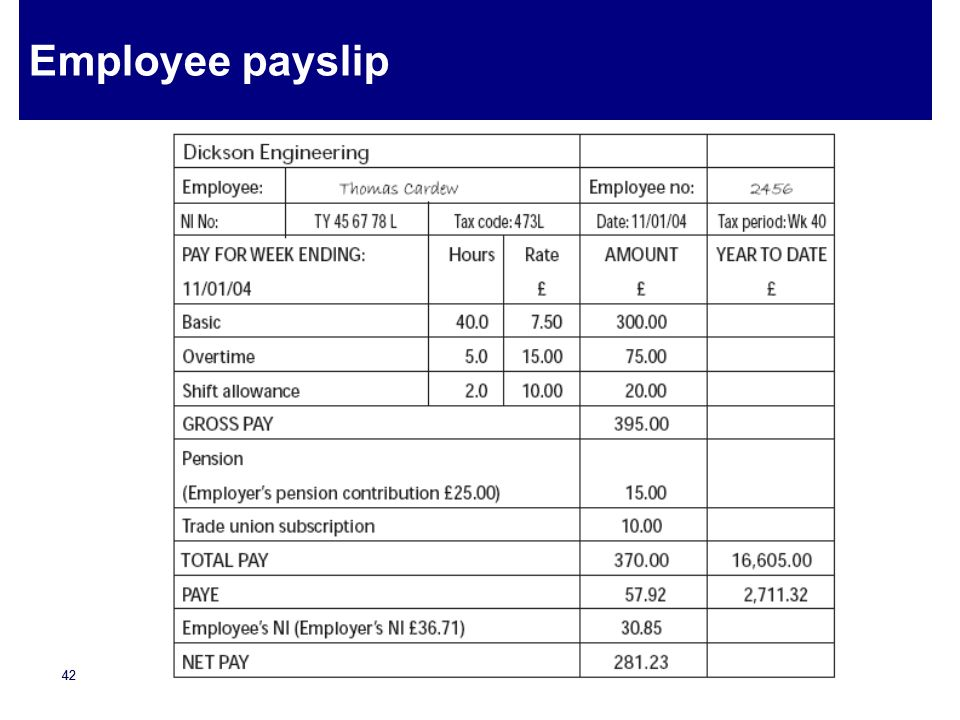 Employee payslip
