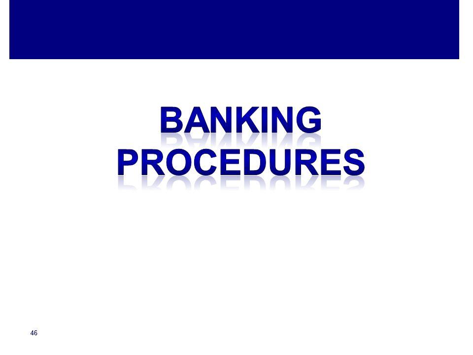 Banking procedures