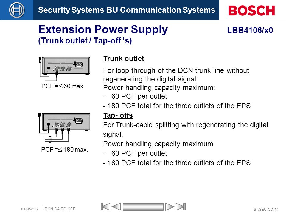 Extension Power Supply LBB4106/x0 (Trunk outlet / Tap-off 's)