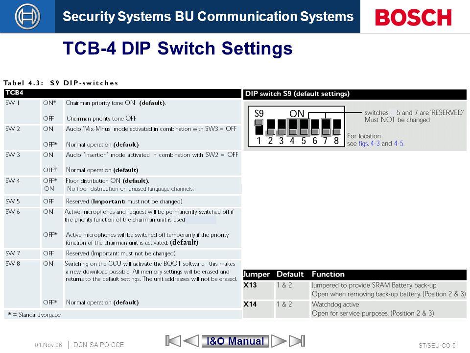 TCB-4 DIP Switch Settings