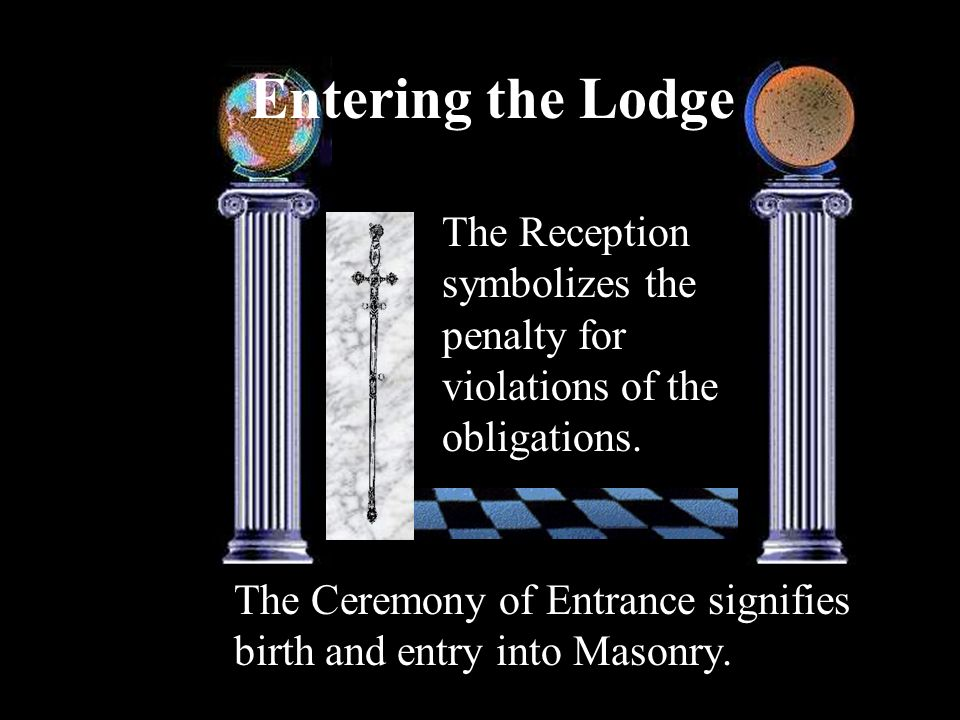 Entering the LodgeThe Reception symbolizes the penalty for violations of the obligations.