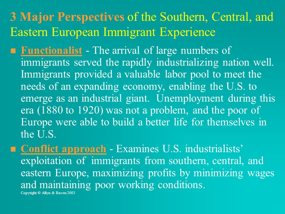 3 Major Perspectives of the Southern, Central, and Eastern European Immigrant Experience