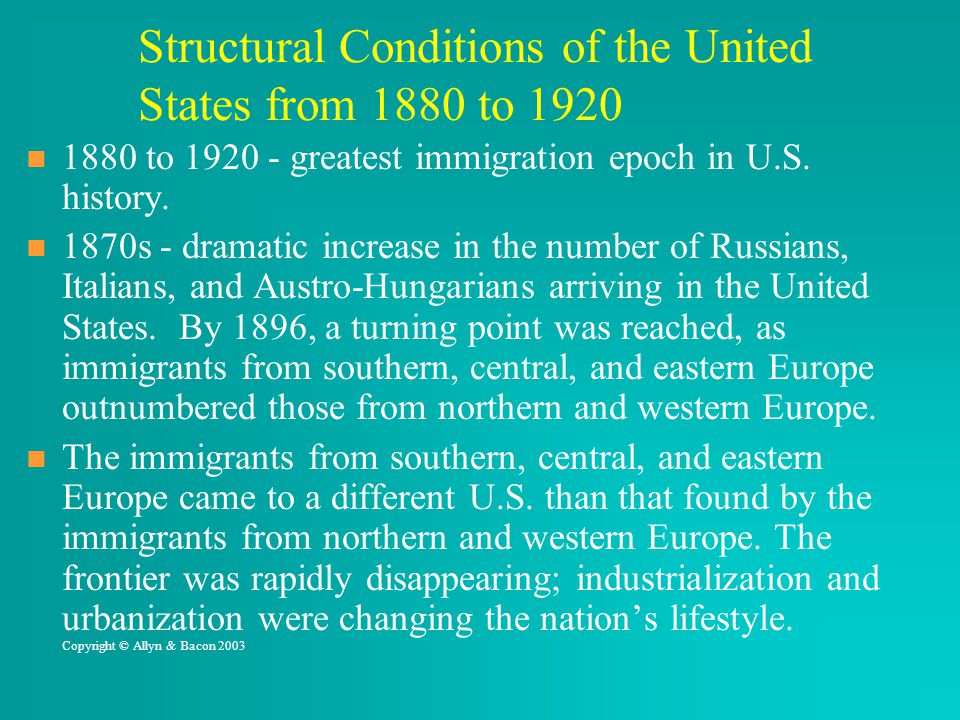 Structural Conditions of the United States from 1880 to 1920