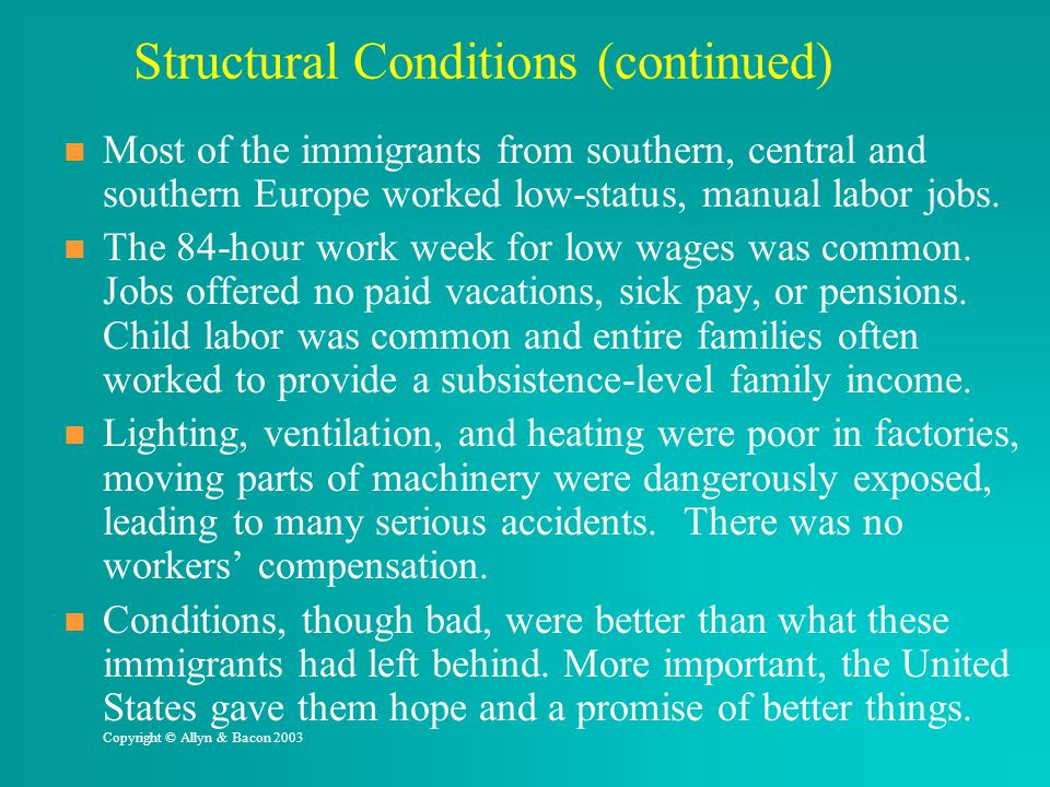 Structural Conditions (continued)