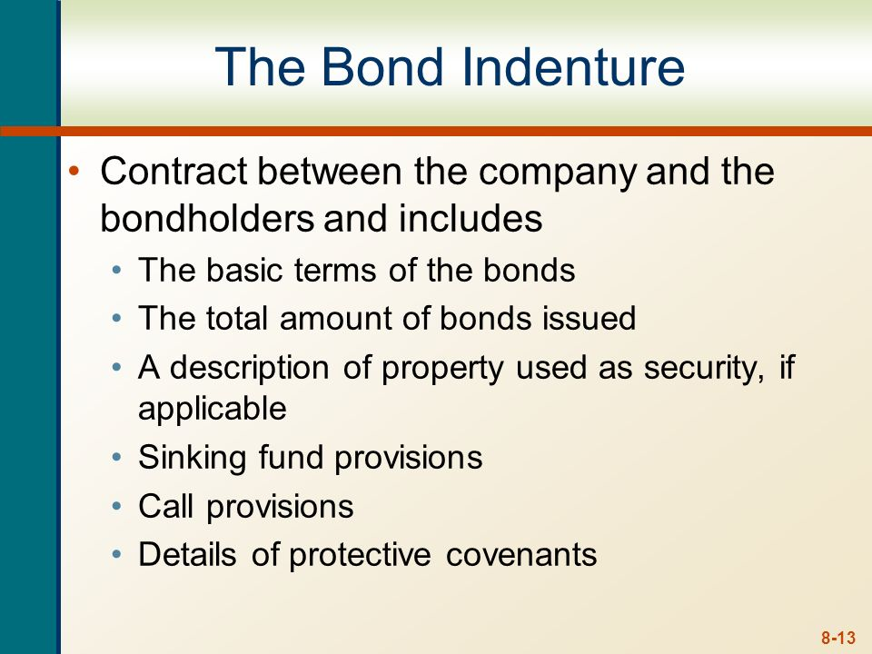 The Bond IndentureContract between the company and the bondholders and includes. The basic terms of the bonds.