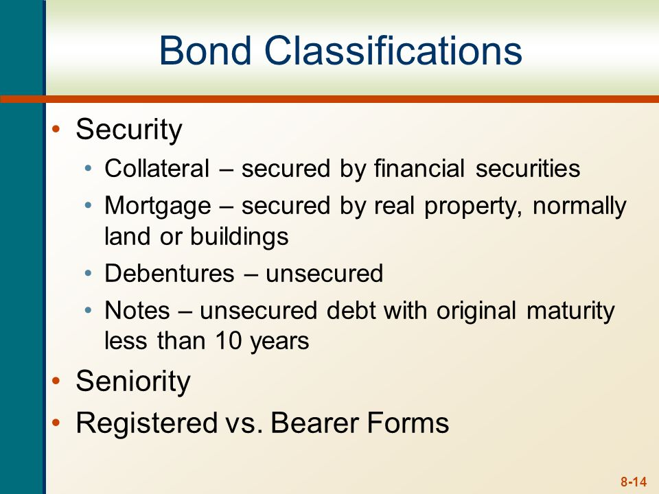 Bond Classifications Security Seniority Registered vs. Bearer Forms