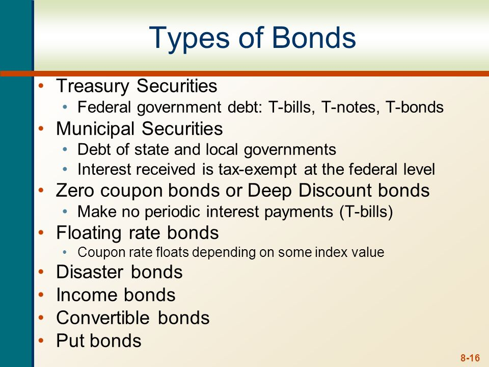 Types of Bonds Treasury Securities Municipal Securities