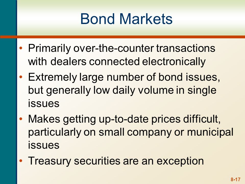 Bond Markets Primarily over-the-counter transactions with dealers connected electronically.