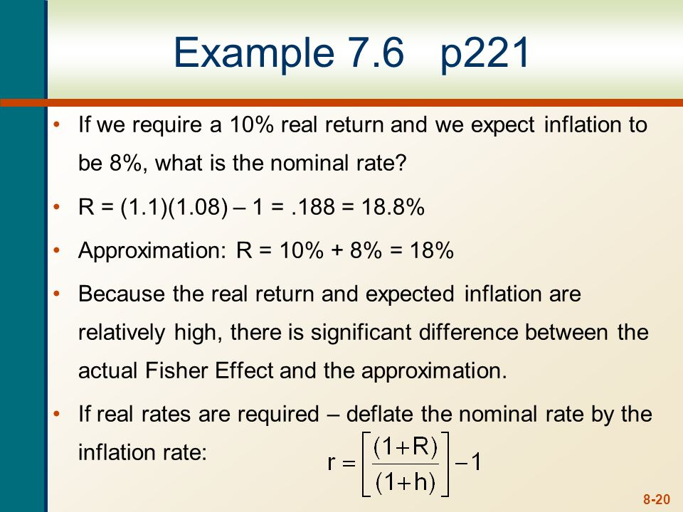 Example 7.6 p221 If we require a 10% real return and we expect inflation to be 8%, what is the nominal rate