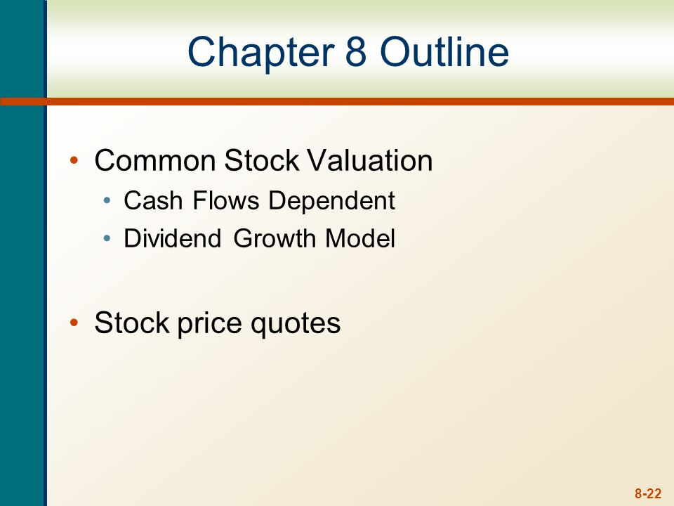 Chapter 8 Outline Common Stock Valuation Stock price quotes