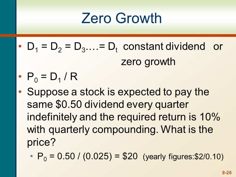 Zero Growth D1 = D2 = D3.…= Dt constant dividend or zero growth