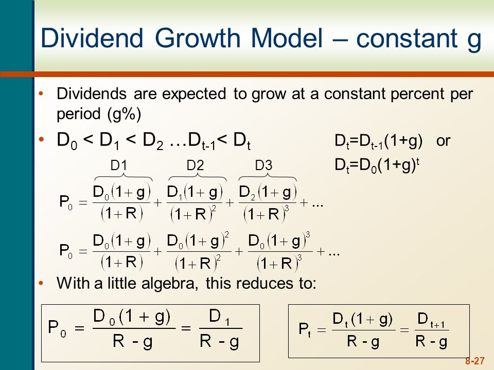 Dividend Growth Model – constant g