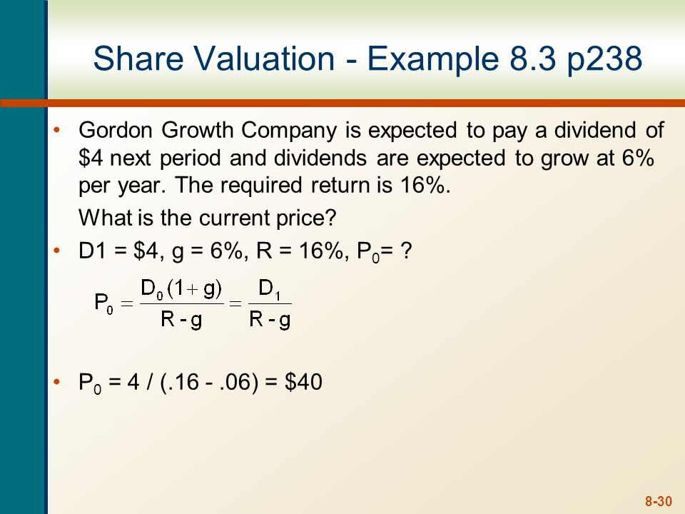 Share Valuation - Example 8.3 p238