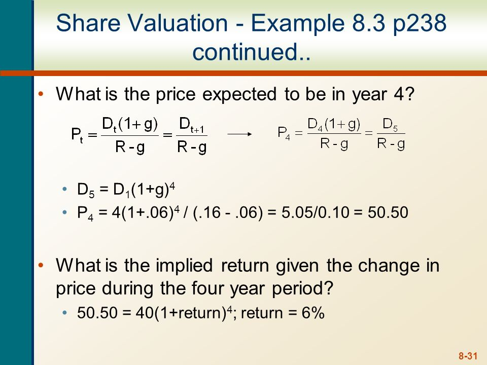 Share Valuation - Example 8.3 p238 continued..