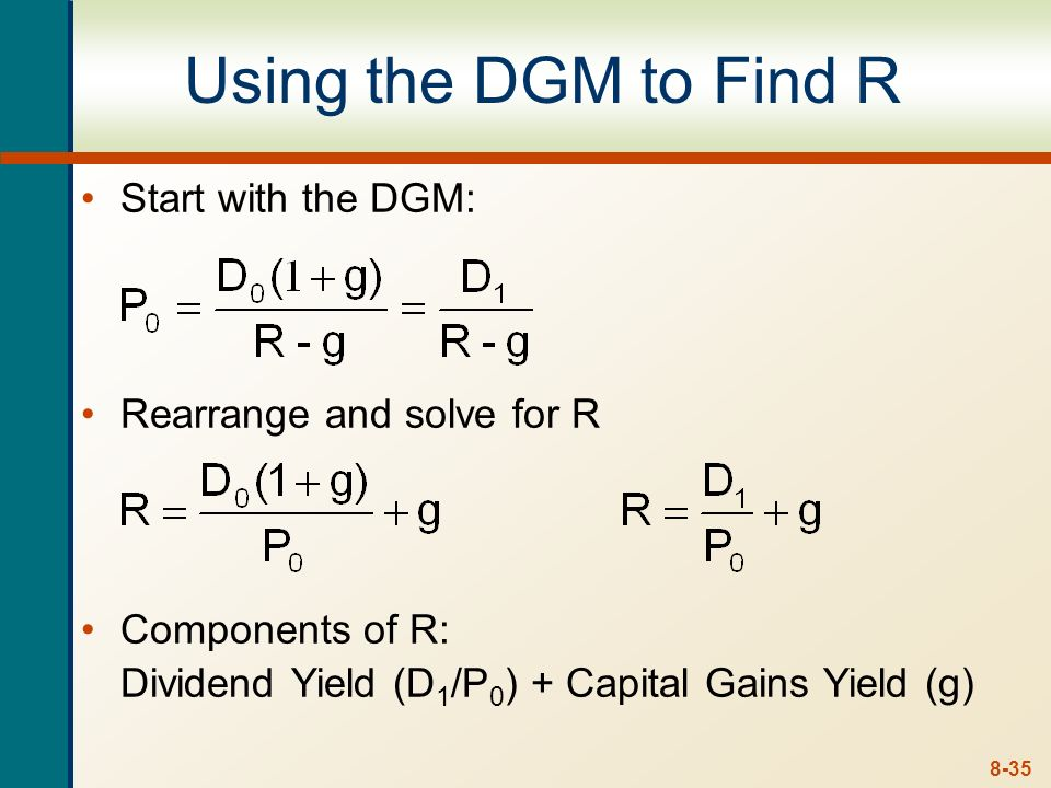 Using the DGM to Find R Start with the DGM: Rearrange and solve for R