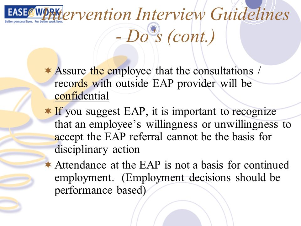 Intervention Interview Guidelines - Do's (cont.)