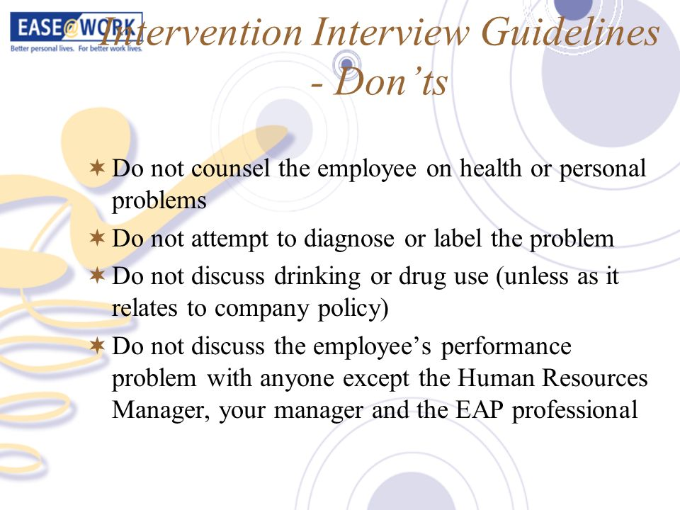 Intervention Interview Guidelines - Don'ts