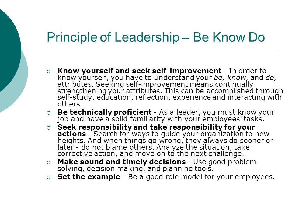 Principle of Leadership – Be Know Do