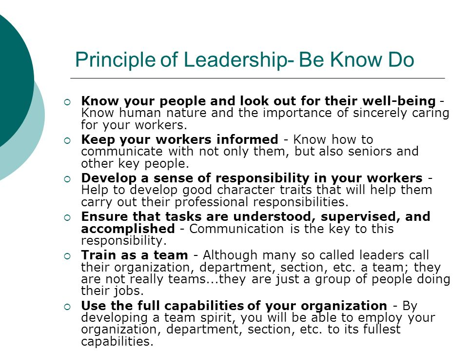 Principle of Leadership- Be Know Do