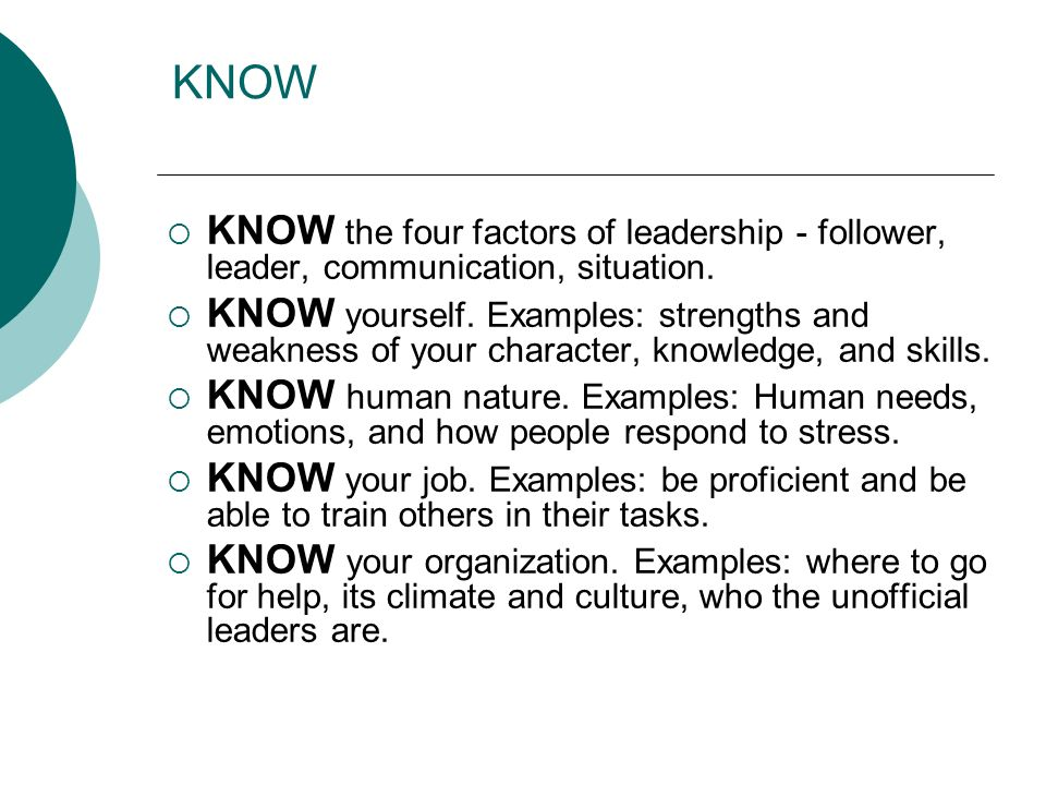 KNOW KNOW the four factors of leadership - follower, leader, communication, situation.
