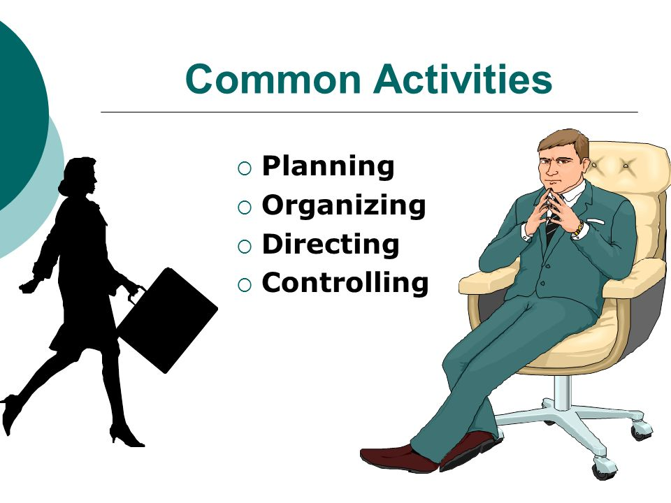 Common Activities Planning Organizing Directing Controlling