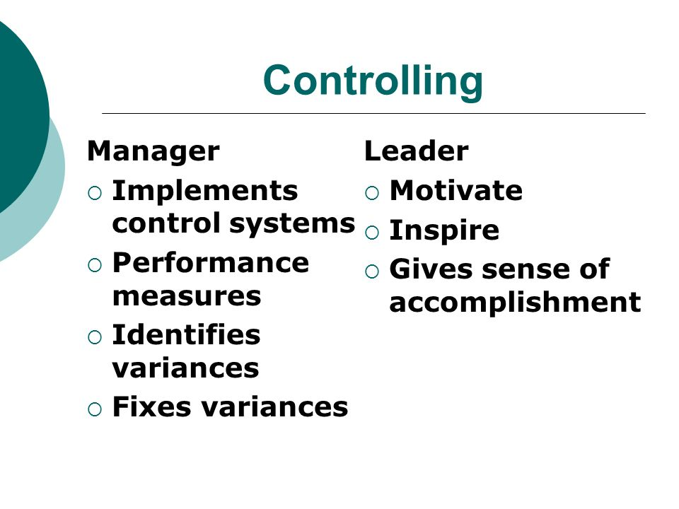 Controlling Manager Implements control systems Performance measures