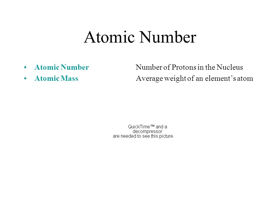 Atomic Number Atomic Number Number of Protons in the Nucleus