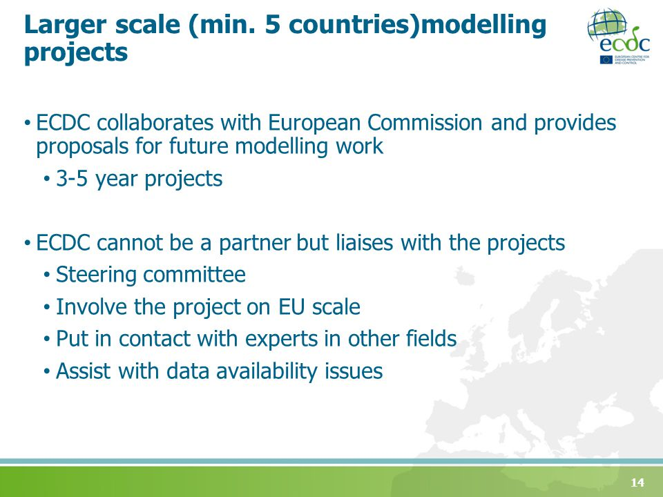 Larger scale (min. 5 countries)modelling projects