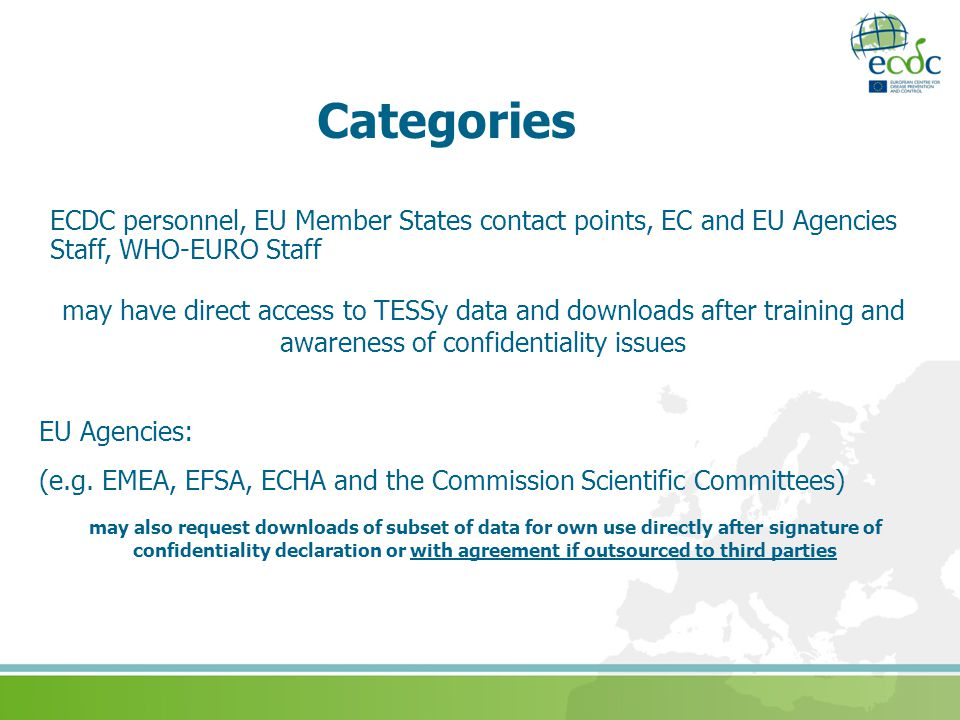 Categories ECDC personnel, EU Member States contact points, EC and EU Agencies Staff, WHO-EURO Staff.