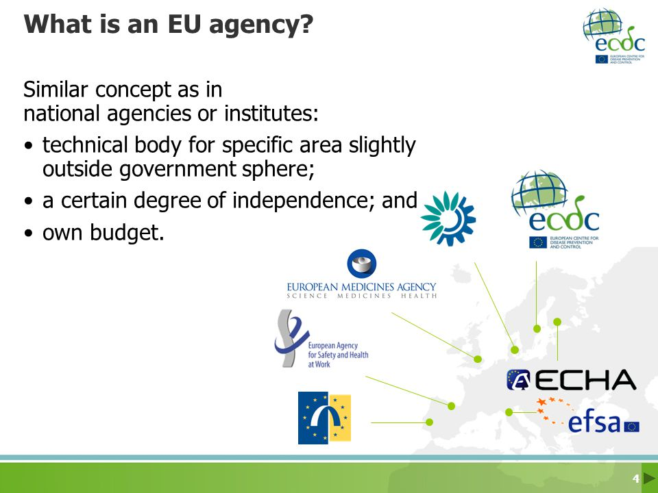What is an EU agency Similar concept as in national agencies or institutes: