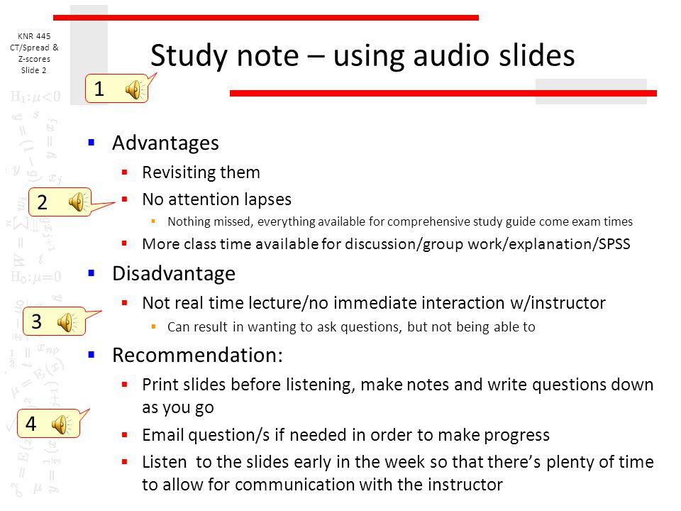 Study note – using audio slides