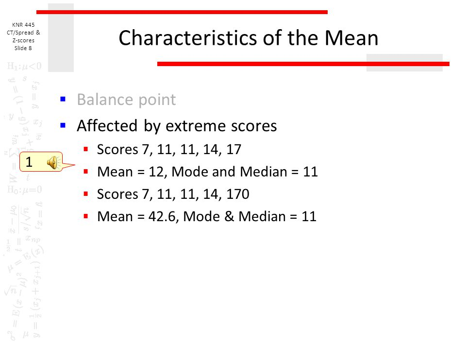 Characteristics of the Mean