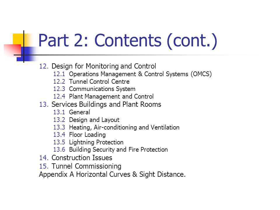 Part 2: Contents (cont.) Design for Monitoring and Control