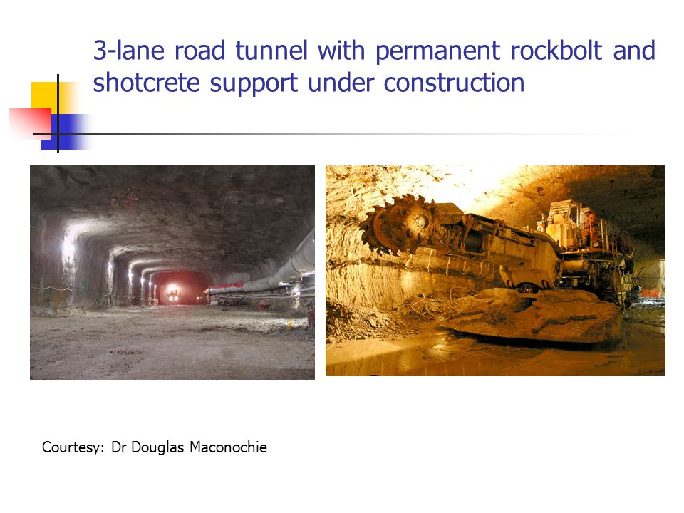 3-lane road tunnel with permanent rockbolt and shotcrete support under construction