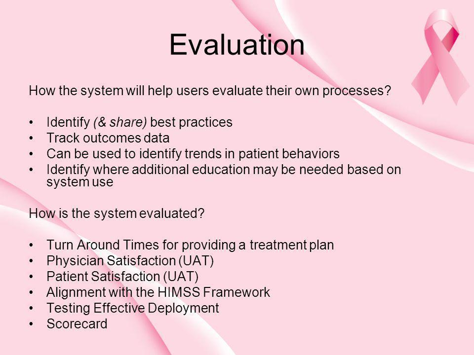 Evaluation How the system will help users evaluate their own processes Identify (& share) best practices.